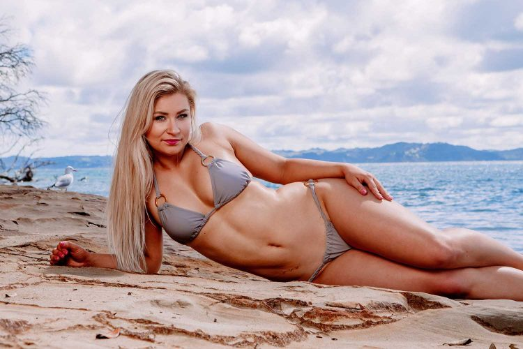 Bikini NZ blonde model photographer. Army Bay Whangaparaoa.